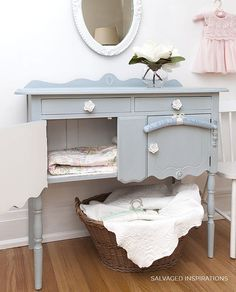 Look how lovely! This sweet buffet was painted with Dixie Belle Paint in Savannah Mist. Sterling Silver Gilding Wax and Best Dang Wax in White were also used. Bamboo Furniture, Furniture Sale, Cheap Furniture, Shabby Chic Furniture, Furniture Projects, Rustic Furniture, Furniture Makeover, Painted Furniture, Furniture Websites