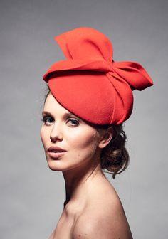 Womens Wedding Hats Red Felt Bow