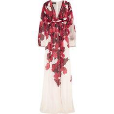 Giambattista Valli Floral-print silk-chiffon gown (30.239.325 IDR) ❤ liked on Polyvore featuring dresses, gowns, red, floral print evening gown, red floral dress, red gown, red evening dresses and floral evening gown
