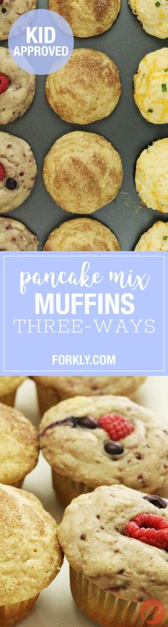 Pancake Mix Muffins (Three Ways!) : Use regular pancake mix to make spectacular muffins in just a couple easy steps. This recipe is adaptable to make berry, cinnamon and cheddar muffins! Kid approved!