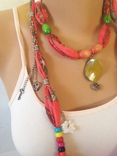 Coral Jewelry Scarf - Beaded Necklace Scarf -  Scarf Charms - Unique Gifts Under 15