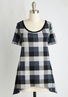 By and Lodge Top in Blue Plaid. After arriving at your mountainous weekend getaway, its time to engage in chill mode in the comforts of this black, grey, and blue plaid tee! #black #modcloth