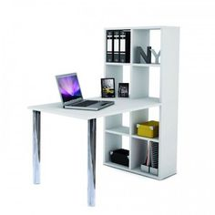 Cleveland computer desk in white with bookcase will be very smart addition to your modern home decor or office as well - 28455 home & office computer desk table, modern & contemporary. Storage with drawers, white high. Corner Writing Desk, Corner Desk, Home Room Design, Home Office Design, Bureau Multimedia, Home Office Furniture, Furniture Design, Italian Furniture Brands, Buy Desk