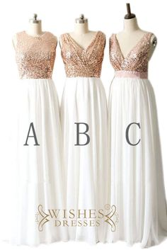 These shinny mismatch bridesmaid dresses make of sequins top and chiffon skirt,empire waist style,popular in wedding.Photographed in rose gold. Available in many colors.please leave a message about th