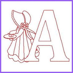 Sunbonnet Alphabet - Free Instant Machine Embroidery Designs by Ana Mel Alphabet Quilt, Embroidery Alphabet, Embroidery Monogram, Folk Embroidery, Vintage Embroidery, Free Machine Embroidery Designs, Hand Embroidery Patterns, Embroidery Stitches, Quilt Patterns