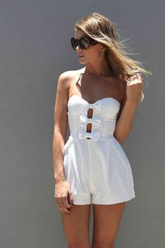 White bow romper I never wear rompers but this has got to be the cutest one I have ever seen