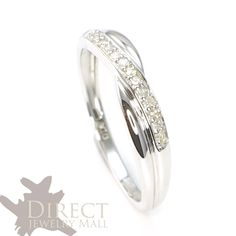 Kareco 9ct White Gold Frosted Diamond Cut 3mm Band Ring 2g5Bs