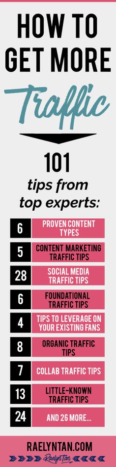 Here is how to get more traffic for your online business: 101 tips from top experts to bring more traffic to your blog / website, including how to get more social media traffic, get more organic traffic and more!