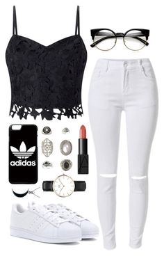 """""""Untitled #550"""" by missingpearl ❤ liked on Polyvore featuring Lipsy, adidas, Topshop, Daniel Wellington, NARS Cosmetics and Carolina Glamour Collection"""