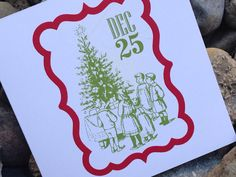 Christmas Card, Holiday Card Set, Personalized Christmas Cards - Vintage Christmas Tree Stamp on Etsy, $10.00 #christmascards #holidaycards #modernchristmascards or at www.soireepaper.co