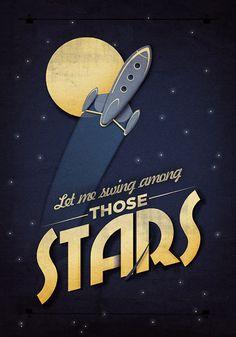 Among the Stars Retro Art Print by twenty21onecreative on Etsy
