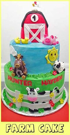 Farm Cake- how to make fondant for decorating and other tutorials here.