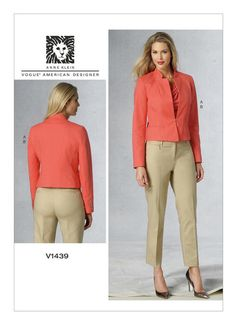 V1439 | Misses' Inverted Notch-Collar Jacket and Pants Sewing Pattern | Vogue Patterns