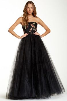 Marchesa Marchesa Notte Strapless Rose Tulle Gown