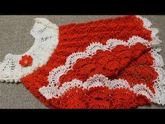 Patrones crochet de vestido infantil en punto abanico / Tutorial en video | Crochet y Dos agujas