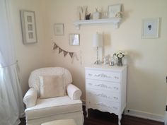 Lovely #white #nursery with tons of feminine touches.  #neutral #vintage
