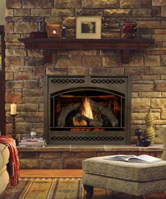 8000 Clx With Cau Front In Bronze Finish Gas Fireplace Logs Cozy Rustic