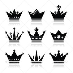 Crown, Royal Family Icons Set  #GraphicRiver         King, Queen crown vector…