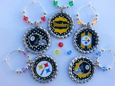 A Set of 6 Football Wine Charms, PICK YOUR TEAM, NFL or College, we have them all. Dec 17 today is the last day to order. $11.70