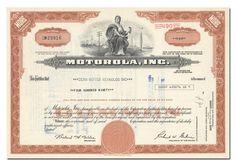Motorola, Inc. Stock Certificate (Brown)