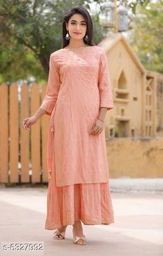 Kurtis & Kurtas Women's Embroidered Rayon Slub Kurti Fabric: Rayon Slub Sleeve Length: Three-Quarter Sleeves Pattern: Printed Description : Double-Layered Kurtis Multipack: Pack of 1 Sizes: XL (Bust Size: 42 in Length Size: 52 in)  L (Bust Size: 40 in Length Size: 52 in)  XXL (Bust Size: 44 in Length Size: 52 in)  M (Bust Size: 38 in Length Size: 52 in) Country of Origin: India Sizes Available: S, M, L, XL, XXL, XXXL, 4XL, 5XL   Catalog Rating: ★4.3 (32692)  Catalog Name: Attractive Women's Double Layered Kurti CatalogID_1005914 C74-SC1001 Code: 275-6327992-5151