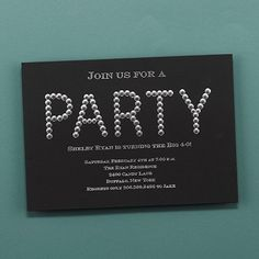 "Diamond Diva - Invitation   Party is spelled out in shiny diamonds on this chic invitation.  Dimensions: 7 1/4"" x 5"" Card• Price Includes: Printed invitation and your choice of a blank colored envelope"