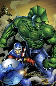 Savage Dragon and Fighting American Art by Rob Liefeld Comic Book Artists, Comic Book Characters, Comic Book Heroes, Comic Artist, Comic Books Art, Gi Joe, Savage Dragon, Rob Liefeld, Alternative Comics