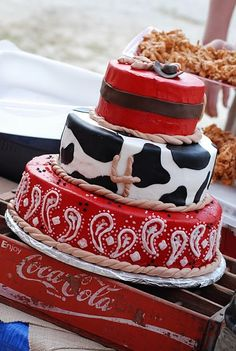 Country western cake... plus LOVE the stand! OK I know this is for a four-year-old, but c'mon that's pretty cool.