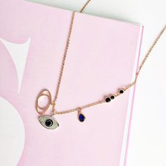 New in! Evil Eye Charms Necklace gold plated in sterling silver.   Click the link in our bio to shop // Discover more on http://www.#thingseyelove.com #thingseyelove1