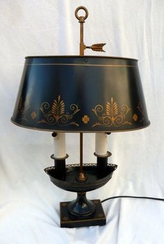 Vintage Mid Century Black Metal Tole French Bouillotte Lamp, Made In France