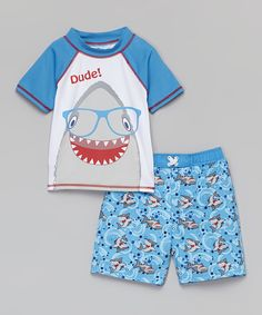 Baby Buns Blue 'Dude!' Shark Rashguard & Boardshorts - Boys by Baby Buns #zulily #zulilyfinds