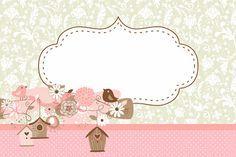 Passarinhos e Flores – Kit Completo com molduras para convites, rótulos para guloseimas, lembrancinhas e imagens!   Fazendo a Nossa Festa