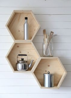 honeycomb hexagon beehive design shelves for kitchen , work space storage contemporary scandi style country chic decor Plywood Projects, Home Projects, Wooden Shelves, Floating Shelves, Plywood Shelves, Wall Shelves, Wooden Boxes, Diy Furniture, Furniture Design