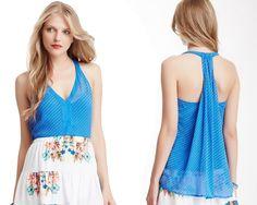 ELLA MOSS Blue Racerback Silk Chiffon Double V Neck Tank Top Blouse NWT $148 #EllaMoss #Blouse #Dressy