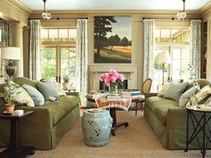 what wall color would go with olive sofa? | Do I have a thing for neutral colors and then bright flowers or what ...