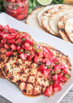 Cilantro-Lime Grilled Chicken with Strawberry-Jalapeño Salsa #paleo #glutenfree