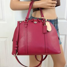 NWT COACH RED SIGNATURE LEATHER CROSSBODY SHOULDER SATCHEL TOTE BAG PURSE #Coach #Satchel