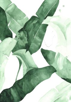 Tropical leaves watercolor - Coastal home decor - Beverly II Art Print