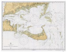"Nantucket Sound and Approaches - 1933 - Nautical Map Reprint 80000 AC 1209. An historic nautical chart of Nantucket Sound and Approaches, Massachusetts published in 1933 by the U.S. Department of Commerce. It shows topography, water depths in fathoms, and nautical features. Also showing the south shore of Cape Cod and eastern half of Martha's Vineyard. original size 34""x44"". We offer this map reprint in different sizes. Printed in color on high quality bond paper. Also available on canvas!."
