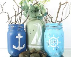Nautical Themed, Mason Jar Set