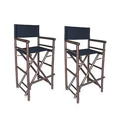 ZEW Bamboo Indoor / Outdoor 47u0027u0027 High Director Chair (Set Of ...