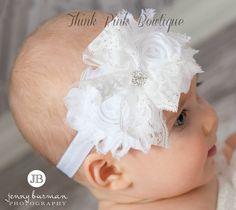 White Baby HeadbandChristening Headband Baptism por ThinkPinkBows