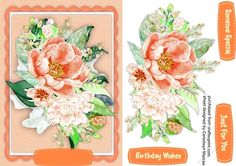 A lovely card with Beautiful Roses on a scalloped apricot mat has three greeting tags and a blank one