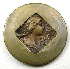 """Antique Brass Button Arts & Crafts Style Art Nouveau Woman Pictorial 1 & 1/16"""""""