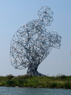 Anthony Gormley's mammoth sculpture, 'Exposure', located in the Netherlands - weighing in at sixty tons, 85 feet in height and poised rather delicately in a crouching position.