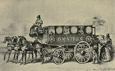 In 1829 George Shillibeer started running two 'Omnibuses' between Paddington and Bank. He had coined the word for his heavy single deck vehicles using 3 horses abreast. They were well appointed and became so popular that seats or benches were later fitted on the roof. Any form of wheel braking was very rare and on steep hills skids had to be placed under wheels.