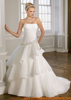 Drop Waist Ball Gown Slight Sweetheart Neckline Pleated Bodice Layered Skirt Organza Bridal Dress with Chapel Train Wedding Dress 2013, Elegant Wedding Gowns, Bridal Wedding Dresses, Cheap Wedding Dress, Wedding Dress Styles, Bridesmaid Dresses, Prom Dresses, Ivory Wedding, Elegant Gown