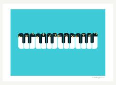 The Choir of Antarctica by ilovedoodle #Illustration #Penguins #Piano  Like the color for painting the nursery