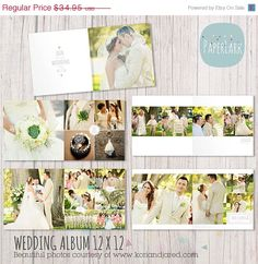 ON SALE Wedding Album Template - 12 x 12 and 10x10 inch supplied - Photoshop template - RW001 - INSTANT Download