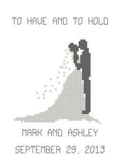 modern cross stitch patterns wedding - Google Search